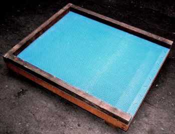 Varroa mesh floor - made from Leitrim Cedar and   extremely  strong woven blue plastic mesh!